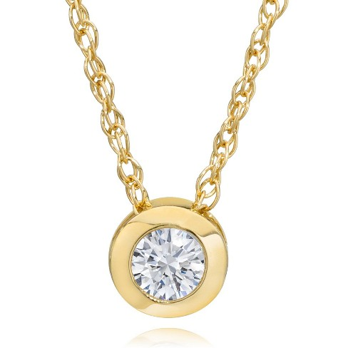 "Pompeii3 14K Yellow Gold 1/4 ct Round Diamond Solitaire Bezel Pendant Necklace 18"" - image 1 of 4"