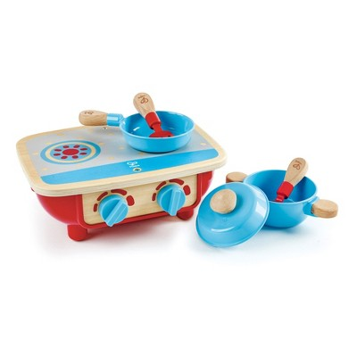 Hape E3170 Kids Toddler Wooden Pretend Play Kitchen Stove Top Set with Pot, Pan, Lid, Spoon, and Spatula Accessories
