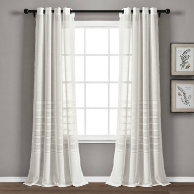 "Set of 2 52""x84"" Bridie Sheer Window Curtain Panels - Lush Décor"
