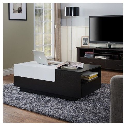 Cami Modern Two Tone Storage Coffee Table White Black Homes Inside Out Target