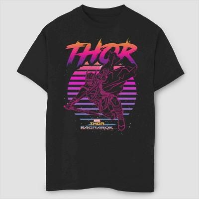 Boys' Marvel 80s Thor Short Sleeve T-Shirt- Black