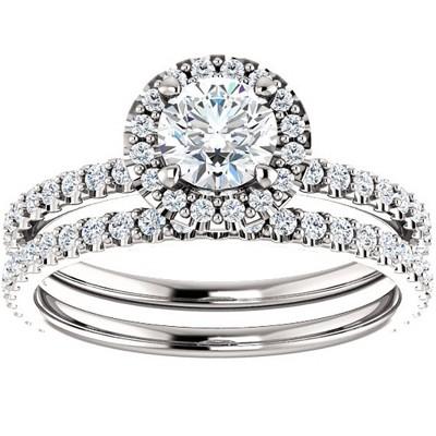 Pompeii3 1 1/10ct Diamond Halo Engagement Wedding Ring Set 14k White Gold