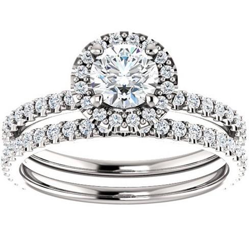 Pompeii3 1 1/10ct Diamond Halo Engagement Wedding Ring Set 14k White Gold - image 1 of 4