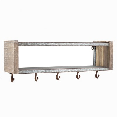 24.7  x 9.5  Decorative Galvanized Metal And Wood Wall Shelf Brown - E2 Concepts