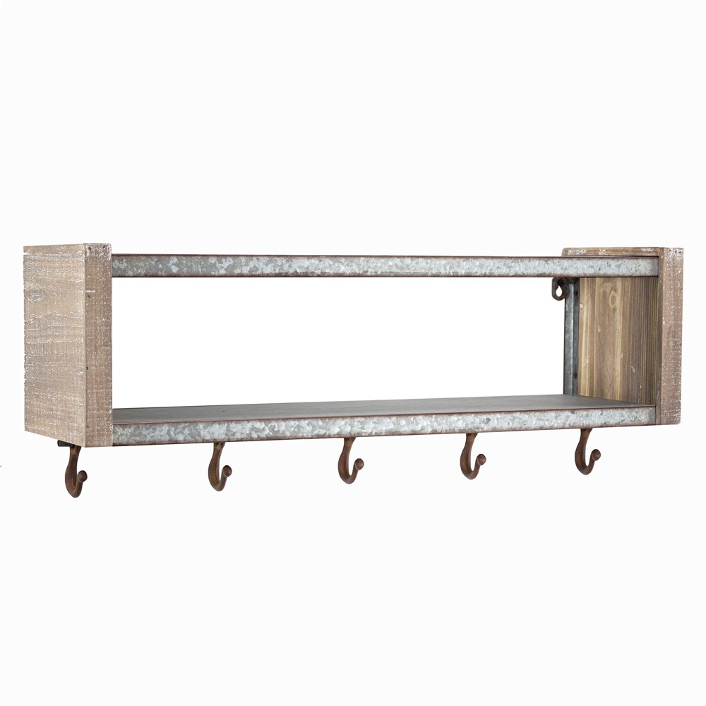 """Image of """"24.7"""""""" x 9.5"""""""" Decorative Galvanized Metal And Wood Wall Shelf Brown - E2 Concepts"""""""