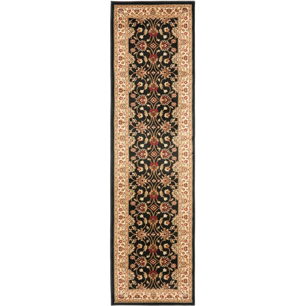 2'3X12' Loomed Floral Runner Rug Black - Safavieh, Black/Ivory