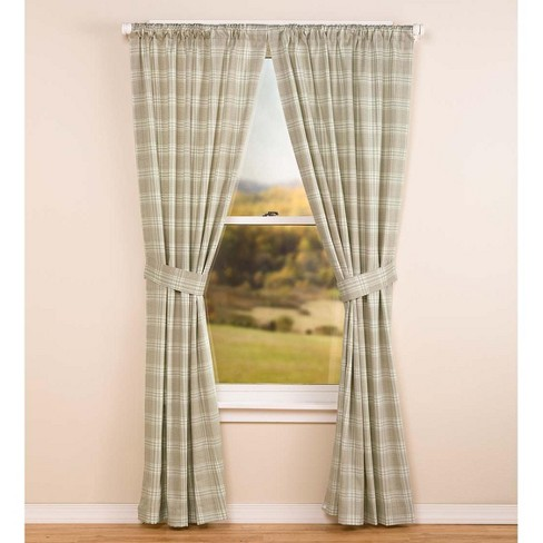 100% Cotton Twill Plaid Rod Pocket Curtain Pair, 63'' L - Plow & Hearth - image 1 of 2