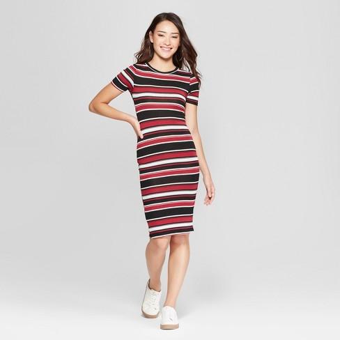 62bd6efab411 Women s Striped Short Sleeve Bodycon Dress - Almost Famous (Juniors ) Wine  Blue