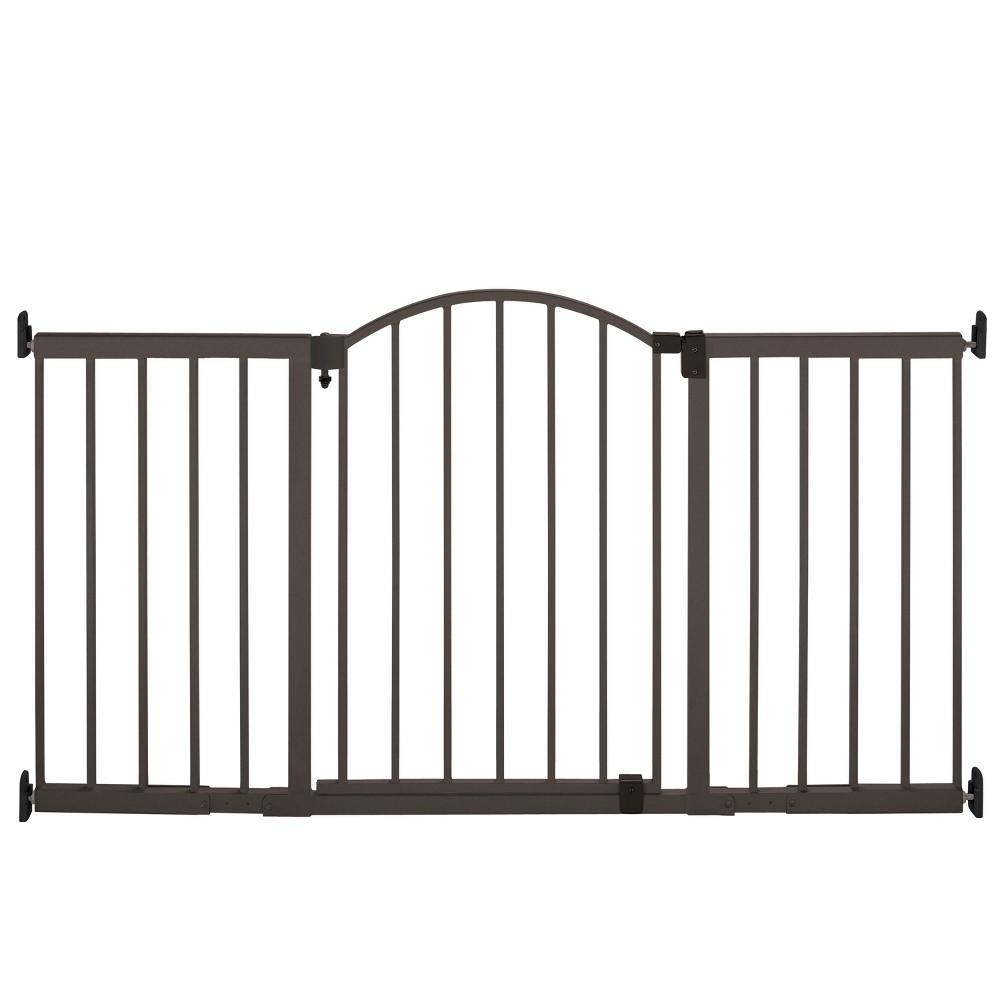 Image of Summer Infant Decorative Wood & Metal 5 Foot Pressure Mounted Gate - Slate Grey and Wood, Green