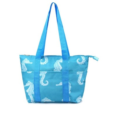 Zodaca Large Insulated Lunch Tote Bag, Seahorse