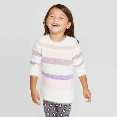 Toddler Girls' Striped Pullover Sweater - Cat & Jack™ Cream 12M
