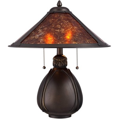 Robert Louis Tiffany Nell Arts and Crafts Pottery Mica Shade Lamp w/ Table Top Dimmer