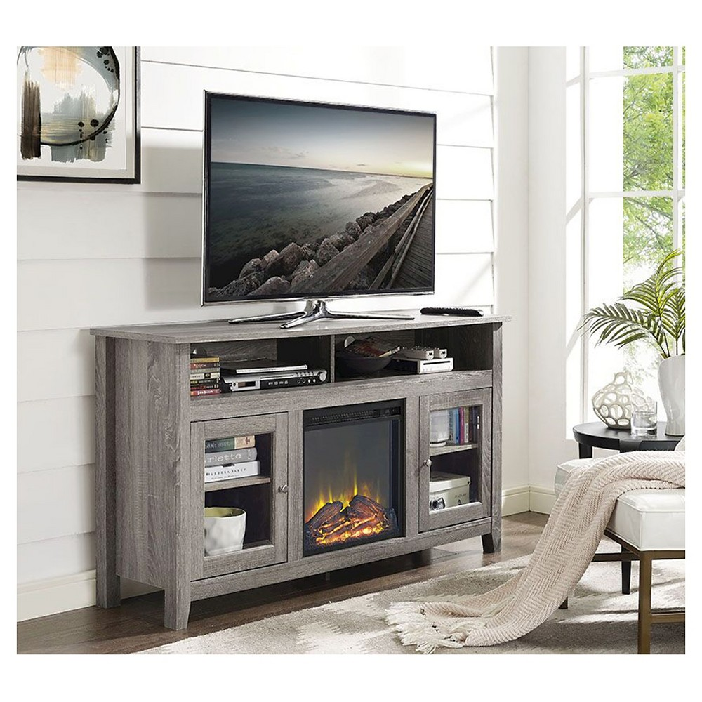 58 Wood Highboy Fireplace Media TV Stand Console - Driftwood (Brown) - Saracina Home