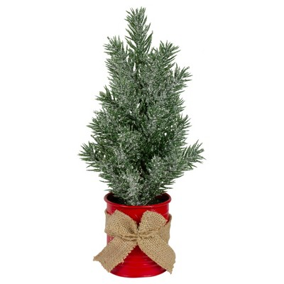 """Northlight 12"""" Frosted Upswept Mini Christmas Tree with Red Tin Base and Burlap Bow - Unlit"""