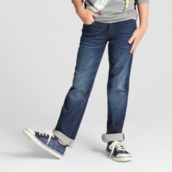 Boys' Knit Dark Wash Straight Fit Denim - Cat & Jack™ Blue
