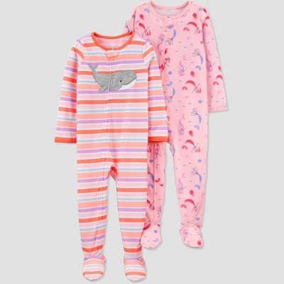Toddler Girls' 2pk Whale/Mermaid Footed Pajama - Just One You® made by carter's Pink