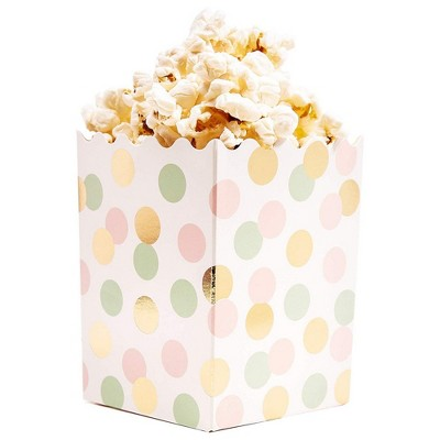 60-Pack Mini 3X4 Popcorn Party Favor Boxes - Candy Snack Containers for Baby Shower, Birthday, and Wedding Parties, Gold Foil and Pastel