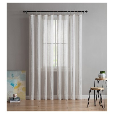 Shaina Sheer Curtain Panel Pair Natural (38 x84 )- VCNY Home