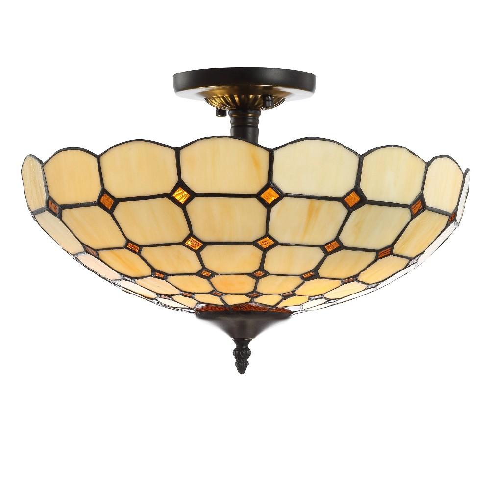 "Image of ""16"""" Jennifer Tiffany Style Glass/Metal LED Semi-Flush Mount Cream (Includes Energy Efficient Light Bulb) - JONATHAN Y"""