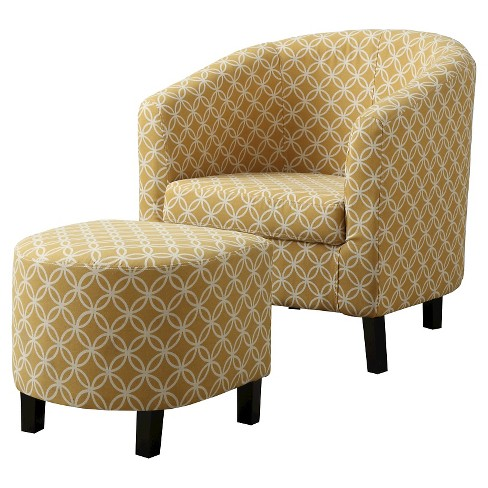 Accent Chair And Ottoman Yellow Circles Everyroom