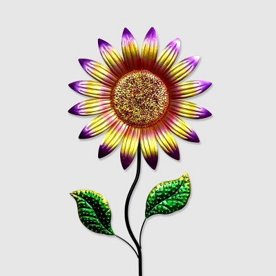 56  Colorful Metal Sunflower Garden Stake Magenta - Exhart