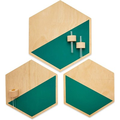 Juvale 3 Pack Wooden Hexagon Hanging Planters, Plant Pots Holder, Wall Decor, 2 Sizes