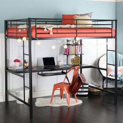 Full Analise Metal Loft Bed with Wood Desk - Saracina Home