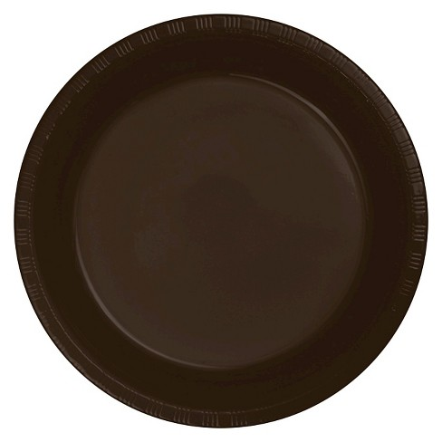 "Chocolate Brown Plastic 7"" Dessert Plates - 20ct - image 1 of 1"