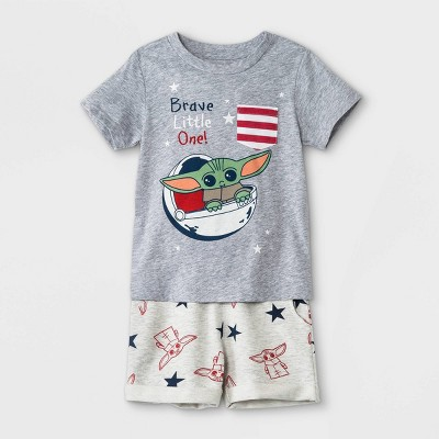 Toddler Boys' 2pc Star Wars Baby Yoda Americana French Terry Short Sleeve Top and Bottom Set - Heather Charcoal