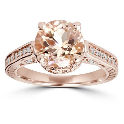 Pompeii3 2 Carat Morganite & Diamond Vintage Engagement Ring 14K Rose Gold