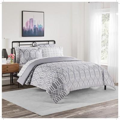 Gray Geometric Cadence Comforter Set (King)7pc - Simmons