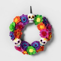 Da de Muertos Skull and Flowers Wreath