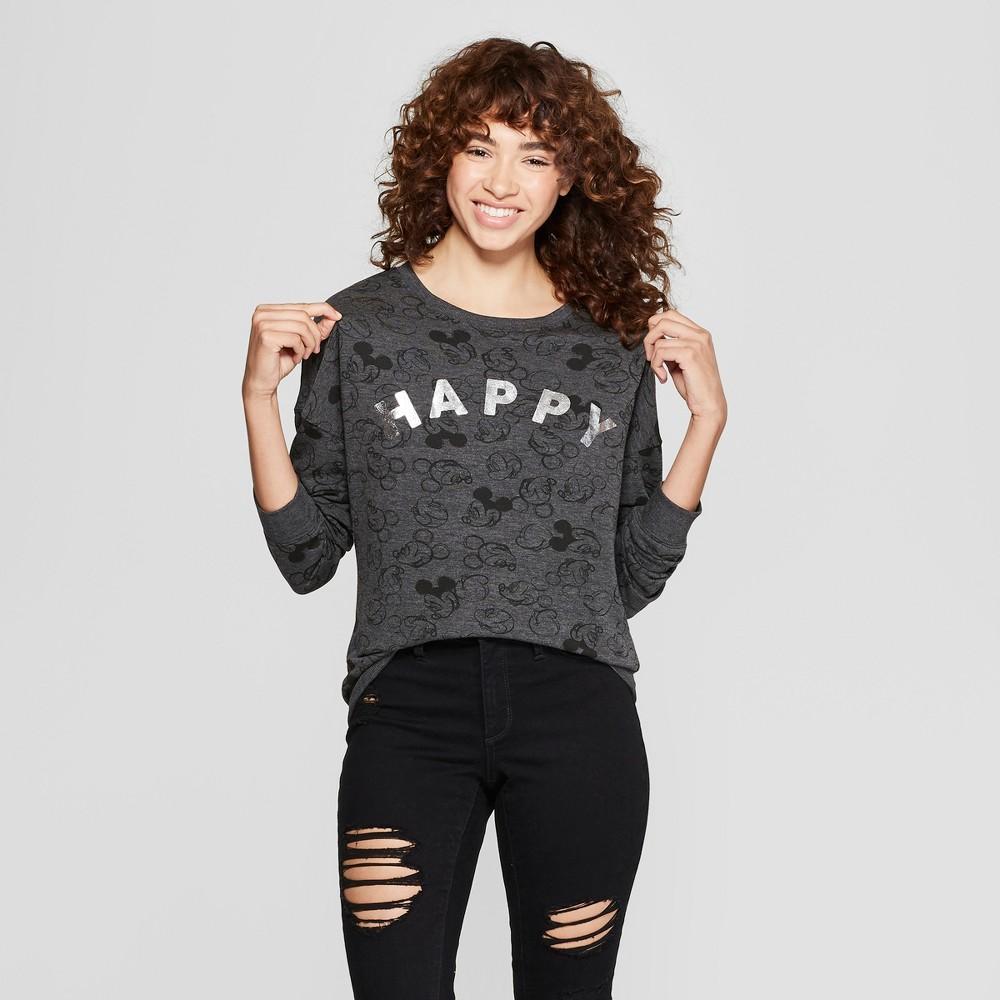 Women's Disney Mickey Mouse Print Happy Graphic Pullover Sweatshirt (Juniors') Charcoal XS, Gray