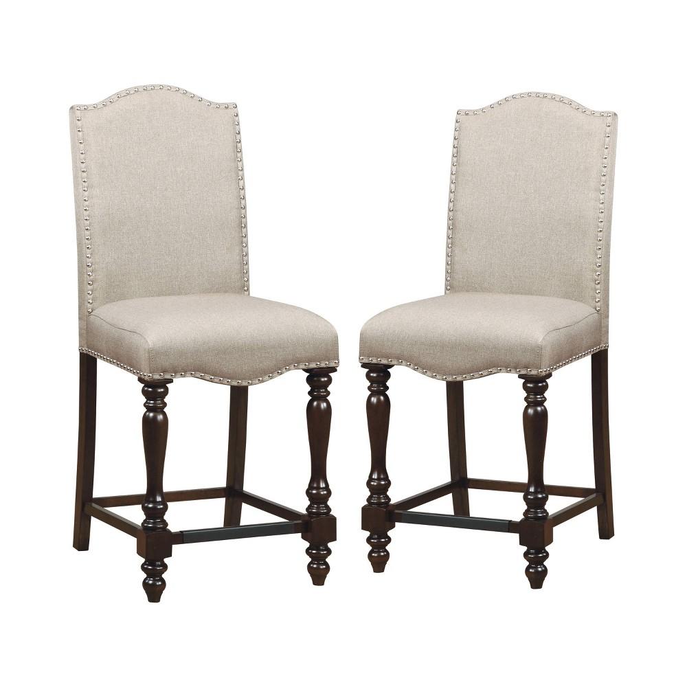 Set of 2 Merrill Foam Cushioned Counter Height Chair Antique Cherry - Sun & Pine