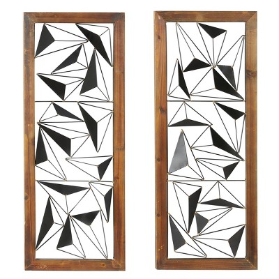 """(Set of 2) 39"""" x 15"""" Contemporary Prism Wood and Metal Wall Decor - Olivia & May"""