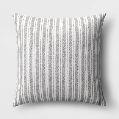 Oversized Striped Square Throw Pillow Blue/Cream - Threshold™