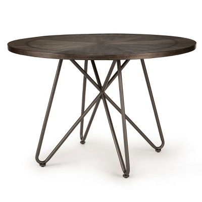 Derek Round Dining Table Gray/Black - Steve Silver