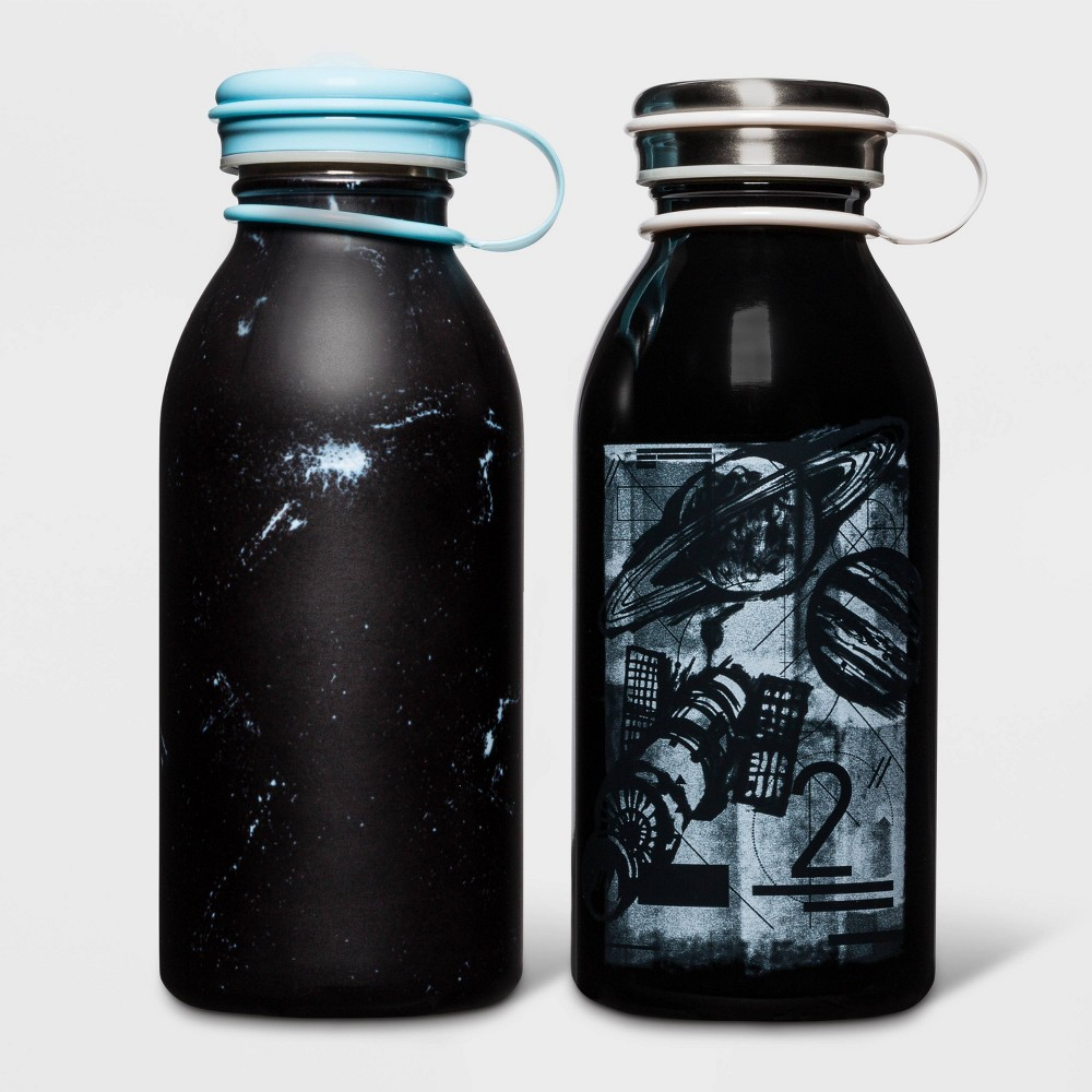 Image of 12oz 2pk Stainless Steel Water Bottle Constellation Space Black - Cat & Jack