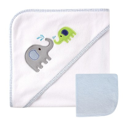 Luvable Friends Baby Boy Hooded Towel and Washcloth, Blue Elephant, One Size