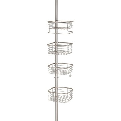 mDesign Metal Bathroom Shower Constant Tension Pole Caddy, 4 Baskets