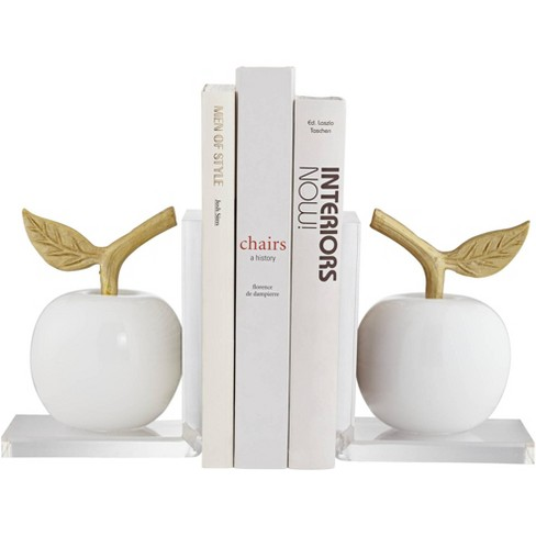 """Dahlia Studios White and Gold 7"""" High Apple Bookends Set - image 1 of 4"""