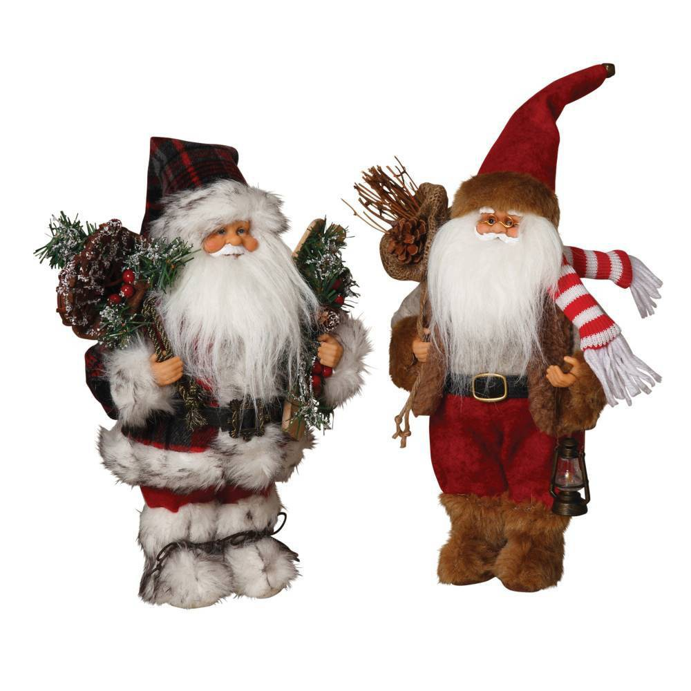 "Image of ""12""""/2ct Woodland Santa Decorative Figuring Set - Gerson International, Red"""