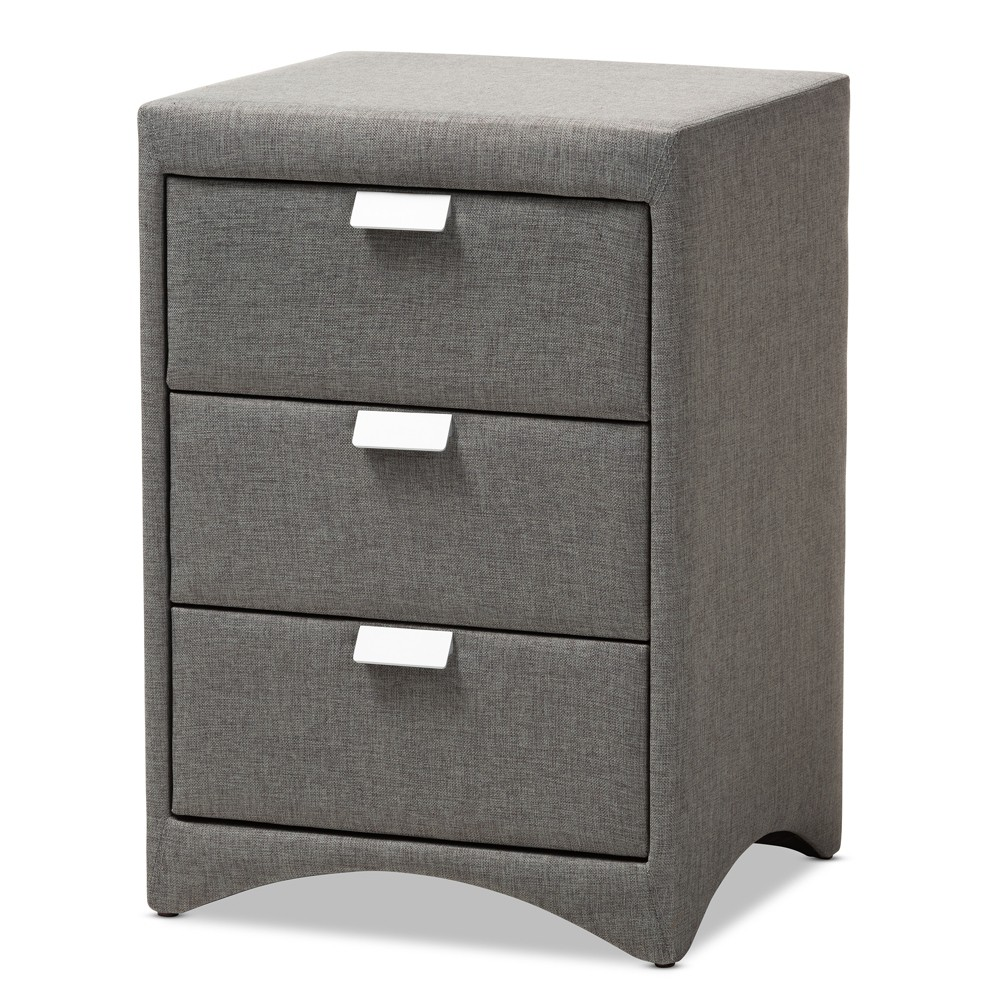 Talia 3 Drawer Nightstand Gray - Baxton Studio