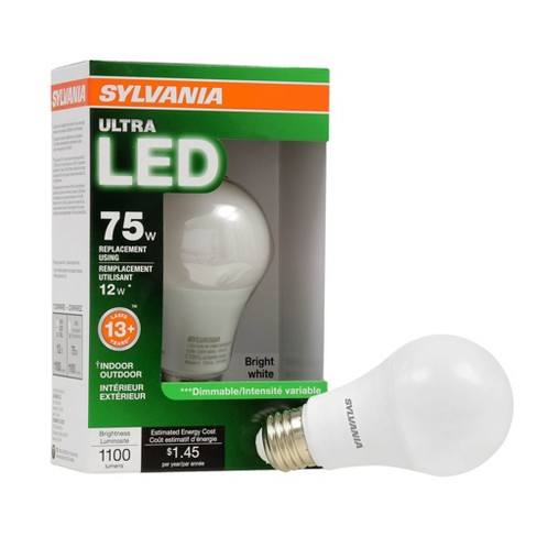 SYLVANIA 74426 Ultra 75W Equivalent 12W Dimmable A19 LED Bulb, Bright White - image 1 of 4