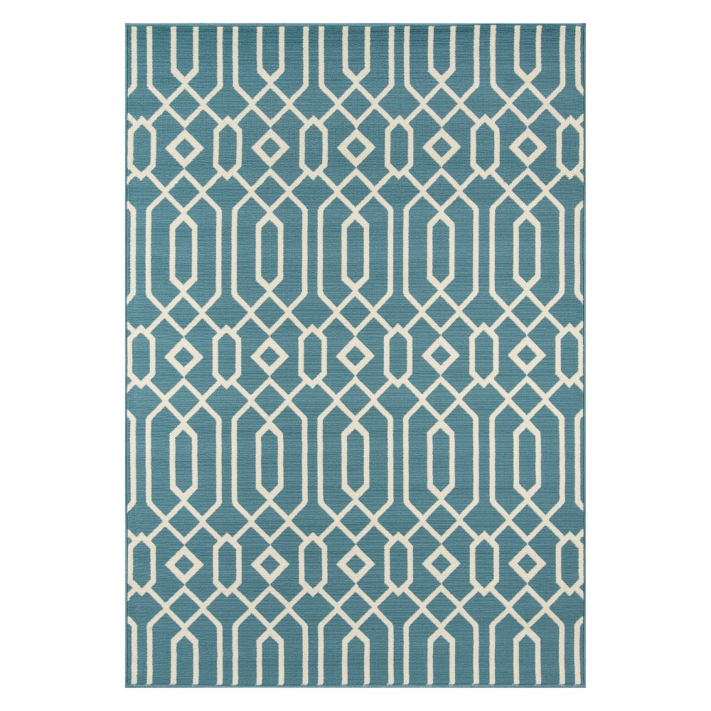 "Image of ""1'8""""X3'7"""" Geometric Loomed Accent Rug Blue - Momeni"""