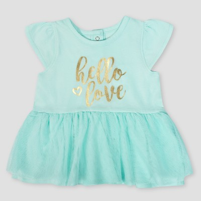 Gerber Baby Girls' Hello Love Dress with Tulle - Green 0-3M