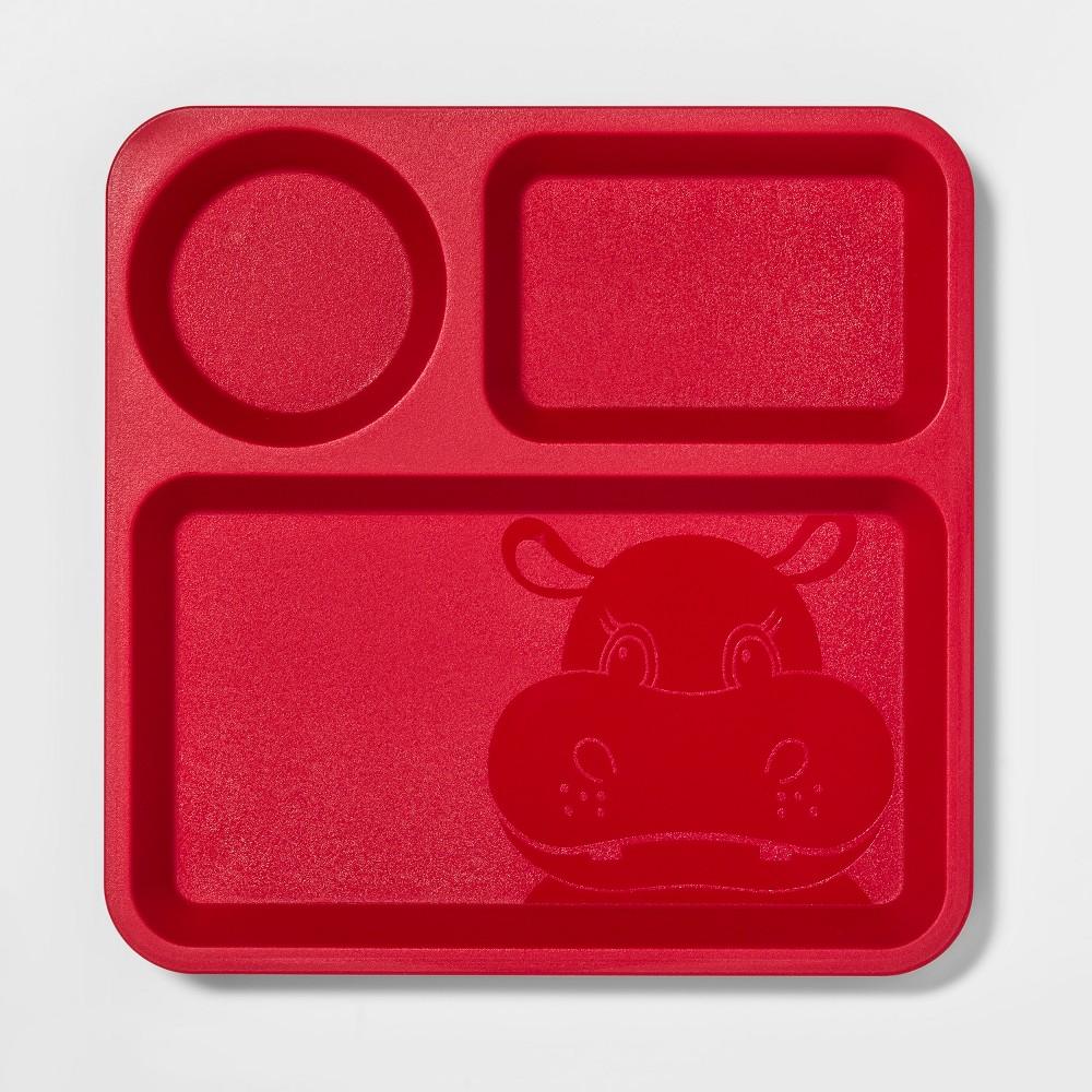 "Image of ""10"""" Plastic Kids Divided Dinner Plate Red - Pillowfort"""