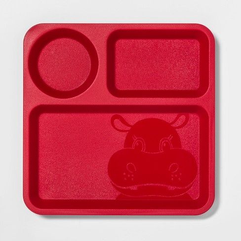 "10"" Plastic Kids Divided Dinner Plate Red - Pillowfort™ - image 1 of 2"