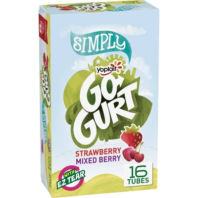 Yoplait Simply Go-Gurt Strawberry and Mixed Berry Low Fat Kids' Yogurt Tubes - 16pk/2oz Tubes