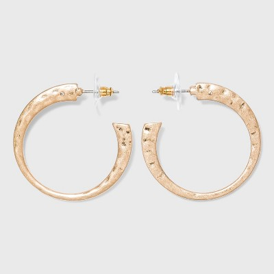 Worn Gold Hammered Metal Hoop Earrings - Universal Thread™ Gold